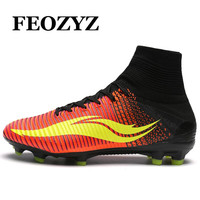 FEOZYZ Men High Ankle Football Boots Pressional FG AG Soccer Shoes Cleats Botas De Futbol Con Tobillera Chuteira Futebol