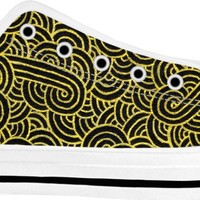 Faux gold and black swirls doodles White Low Tops