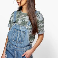 Tina Frayed Edge Denim Dungaree Shorts | Boohoo