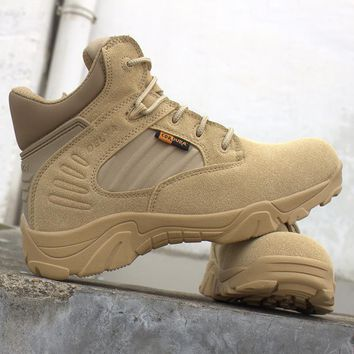 Bjakin Men Military Leather Boots Professional Tactical Desert Combat Boats Medium Cut Outdoor Hunting Hiking Shoes High Quality
