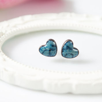 Heart stud earrings Heart earrings Cute clay stud earrings Navy blue earrings Ceramic jewelry Sterling silver posts ceramic stud earrings