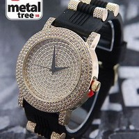 Jewelry Kay style Bling CZ 14K Gold Plated Black Silicone Band Techno Pave Men's Watch WR 7806 GBK