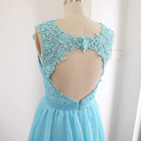 Mini Prom Dress, Lace Straps Sweetheart Chiffon Formal Dress Open Back, Wedding Party Dress, Sky Blue Cocktail Dress, Homecoming Dress