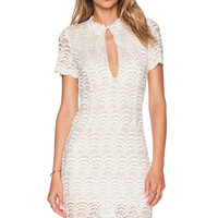 White Lace Fish Scale Pattern Short Sleeve Cutout Bodycon Mini Dress