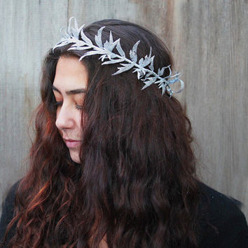 Woodland Silver Leaf Crown - Silver Glitter Holiday Hair Wreath, Leaf Headband, New Year's Eve Crown, Winter Wedding, Silver, Headpiece