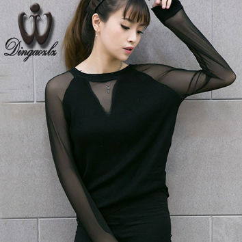 2016 Autumn Sweater Tops long-sleeved V-neck Sexy Pulloevers stitching perspective Women sweater shirt