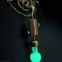 Glow in the dark necklace, GITD jewelry, Green light glass vial, Mad scientist jewelry, Steam punk pendant, Laboratory, Choker size, Gears