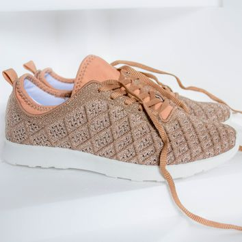 Dessa Shimmer Sneakers | Rose Gold