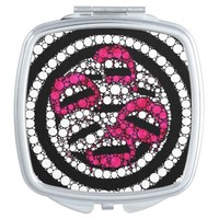 Bling sassy Lips Compact Mirror (blk,pink,white)