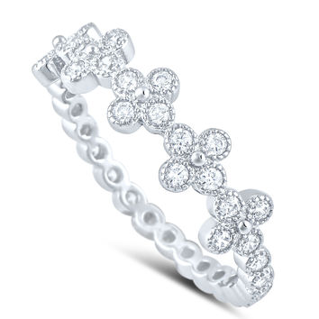 Sterling Silver Simulated Diamond Thin Cross Ring