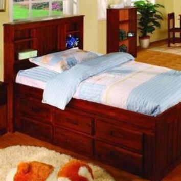 Addison Captains Bed with Three Drawers, Bookcase Headboard, and Trundle