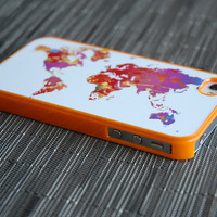 Neon Orange Colorful World Map Custom iPhone  and 4s Case - unique iphone cases, globe