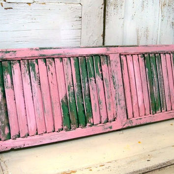 Large weathered shutter shabby chic home decor hand painted pink distressed green recycled home decor Anita Spero