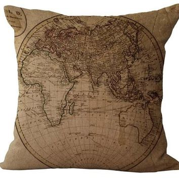 The afroeurasian mainland map exploration diary chamber of escape sailing emoji pillow massager decorative pillows art painting