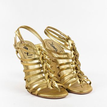 "Yves Saint Laurent Rive Gauche Metallic Gold ""Trybal"" Wedge Sandals"