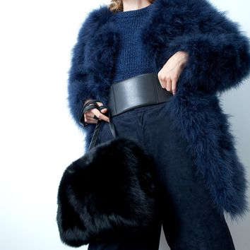 Dusty Navy Ostrich Feather Coat