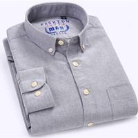 Men's Long Sleeve Solid Oxford Dress Shirt with Left Chest Pocket Slim-fit High Quality 100% Pure Cotton Male Button Down Shirts