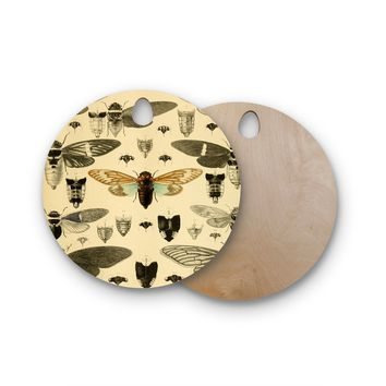 "Suzanne Carter ""Vintage Cicada"" Bugs Pattern Round Wooden Cutting Board"