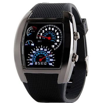 Stainless steel case Digital women watches  Fashion Aviation Turbo Dial Flash LED Watch Gift Mens Lady Sports Car Meter 30p