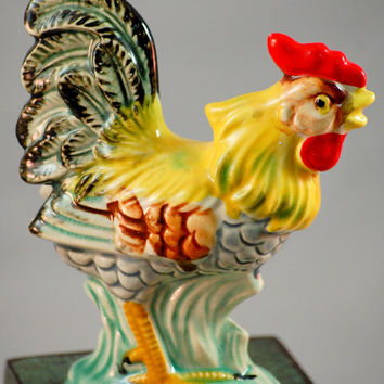 Vintage 1950s Colorful 6 Inch Rooster Figurine