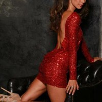 Red sequin classic backless dress
