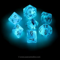 Pink Ghostly Glow in the Dark 7-Dice Set | Awesome Dice