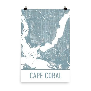 Cape Coral Florida Street Map Poster