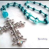 Anglican Rosary Beads Necklace, Crystal Cross Aqua and Teal Pearls
