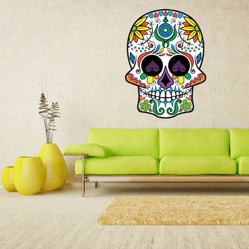 Full Color Wall Decal Mural Sticker Decor Art Beautyfull Cute Sugar Skull Bedroom Curly modern fashion (col607)
