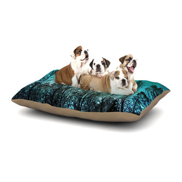 "Sylvia Cook ""Dark Forest"" Blue Trees Dog Bed"