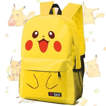 2017 Hot Game Pocket Monster  Pikachu Squirtle Kawaii Emoji Canvas Printing Backpack Women Children Fashion School BagKawaii Pokemon go  AT_89_9