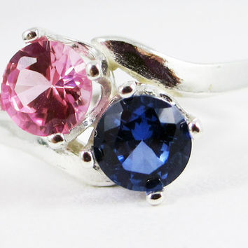 Blue and Pink Sapphire Two Gemstone Sterling Silver Ring