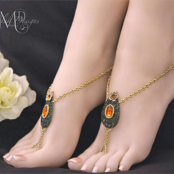 Indian Wedding Style Beaded Barefoot Sandals
