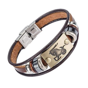 European style,12 zodiac signs Men Bracelet With Stainless Steel Clasp
