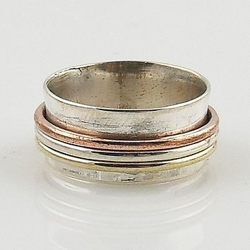 Spinner Ring - Three Tone High Shine Smooth Sterling Silver - Keja Jewelry