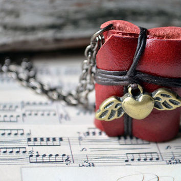 MiniatureBook Necklace Heart with wings & Maroon Color leather
