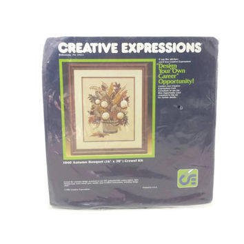 Creative Expressions Crewel Kit, Vintage Sewing Kit, Embroidery, Autumn Bouquet, Retro Crafts, Needlecraft, Floral, Flowers, Rustic, Retro