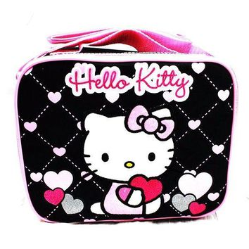 "Sanrio Hello Kitty Fullbody Shine Heart  9.5"" Canvas Black Grils Lunch Bag/Box"