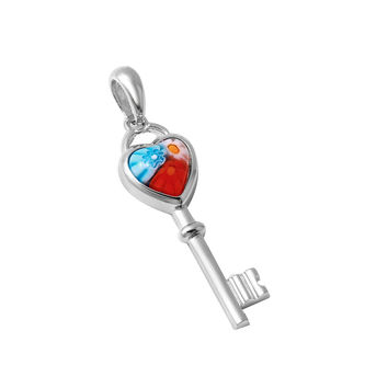 "Sterling Silver Multicolor Glass Murano Millefiori Glass Pendant Heart Shaped Key  (Free 18"" Chain)"