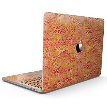 Orange Watercolor Leopard Pattern - MacBook Pro with Touch Bar Skin Kit