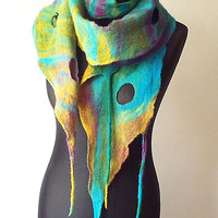 Felted Scarf Felt scarf Felted Collar Multicolor Art to wear Yellow Turquoise Green Purple Shawl Colorful felt Boho Rainbow Gift OOAK