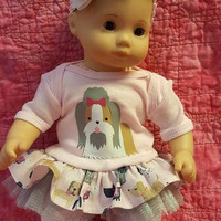 "15 inch Baby doll outfit ""Pampered Pooch""  Will fit Bitty Baby® Bitty Twins®  dress leggings socks headband G8"