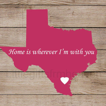 State Print Map- canvas distance map, love I'm with you, home is where, where the heart is, housewarming gift, travel moving away
