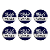 Vance Hello My Name Is Plastic Resin Button Set of 6