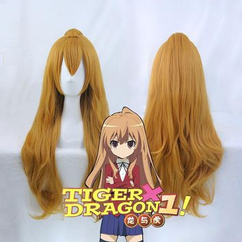 TIGER DRAGON Toradora! Aisaka Taiga Cosplay Wigs for Women 80cm Long Curly Wavy for Female Synthetic Fake Hair
