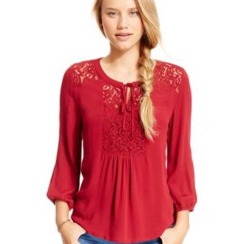 Stoosh Juniors' Lace-Panel Peasant Top | macys.com