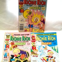 Vintage Lot Of 5 Richie Rich Digest Magazines 1980s Light Wear And Aging Of Pages