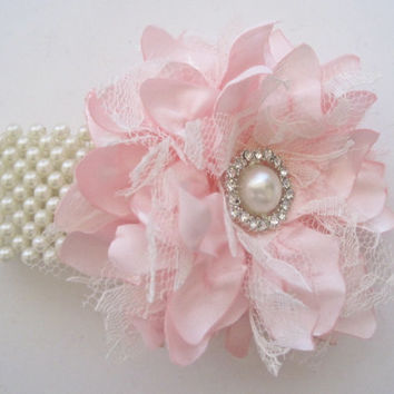 Wrist Corsage Pink Satin and Lace Pearl Cuff or Three Strand Bracelet Bridesmaid Mother of the Bride Prom with Pearl Rhinestone Accents.