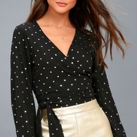 Meet Me on the Dance Floor Gold and Black Polka Dot Wrap Top
