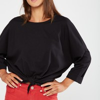 Holly Oversize Tie Front Top